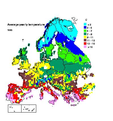 Average Rainfall Map Europe.Application Of The Smart Model To Europe