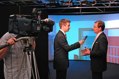 David Miller being interviewed for Grampian TV news