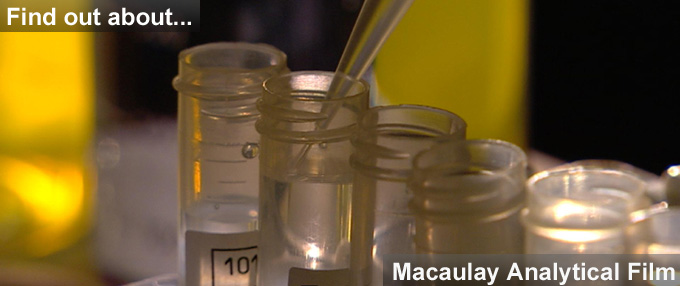 Pic of test tubes and link to Macaulay Analytical video